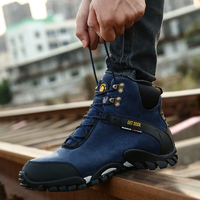 Fashion Cow Suede Walking Men Shoes 2019 Winter Warm Fur Snow Boots Men Work Ankle Adult Men Sneakers Safety Footwear HX 008