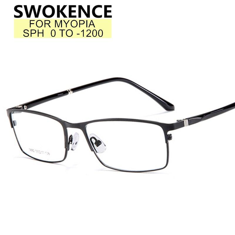 Очки для близорукости SWOKENCE, очки для близорукости от 0 до 12, мужские и женские очки с полуоправой из сплава с защитой от синего света для близ...