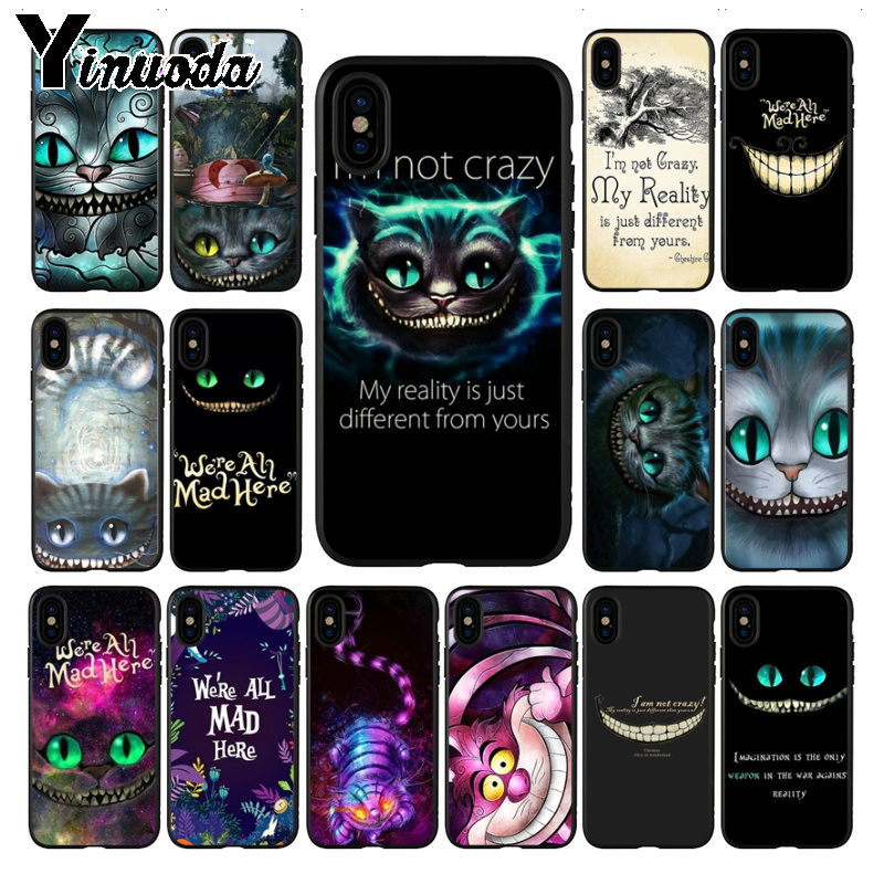 Yinuoda cover for <font><b>iphone</b></font> 11 11pro max Alice in Wonderland Cheshire <font><b>Cat</b></font> High Quality Classic Phone <font><b>Case</b></font> for <font><b>iPhone</b></font> <font><b>8</b></font> 7 6 6S Plus X XS MAX XR 5S SE <font><b>case</b></font> Cover image