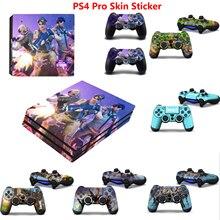 Виниловая наклейка для консоли Sony Playstation 4 и 2 контроллеров PS4 Pro