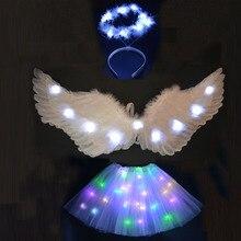 Женская повязка на голову с крыльями ангела для девочек; юбки-пачки; Светодиодный светильник; подарок на день рождения; карнавальный, Свадебный костюм Purim