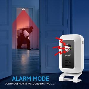 Image 4 - KERUI אלחוטי חנות חנות בברכה דלת כניסה חכם פעמון עם כפתור וילונות אינפרא אדום Motion גלאי דלת אזעקה