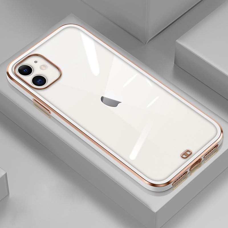 GTWIN NEW Square Plating Frame Case For iPhone 11 Pro XS Max XR X 7 8 Plus SE 2020 The Feel of iPhone 12 Transparent Back Cover