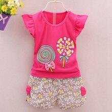 2 sztuk Lolly drukuj stroje maluch dzieci dziewczynek stroje letnia koszulka topy + krótkie spodnie ubrania zestaw dla dzieci