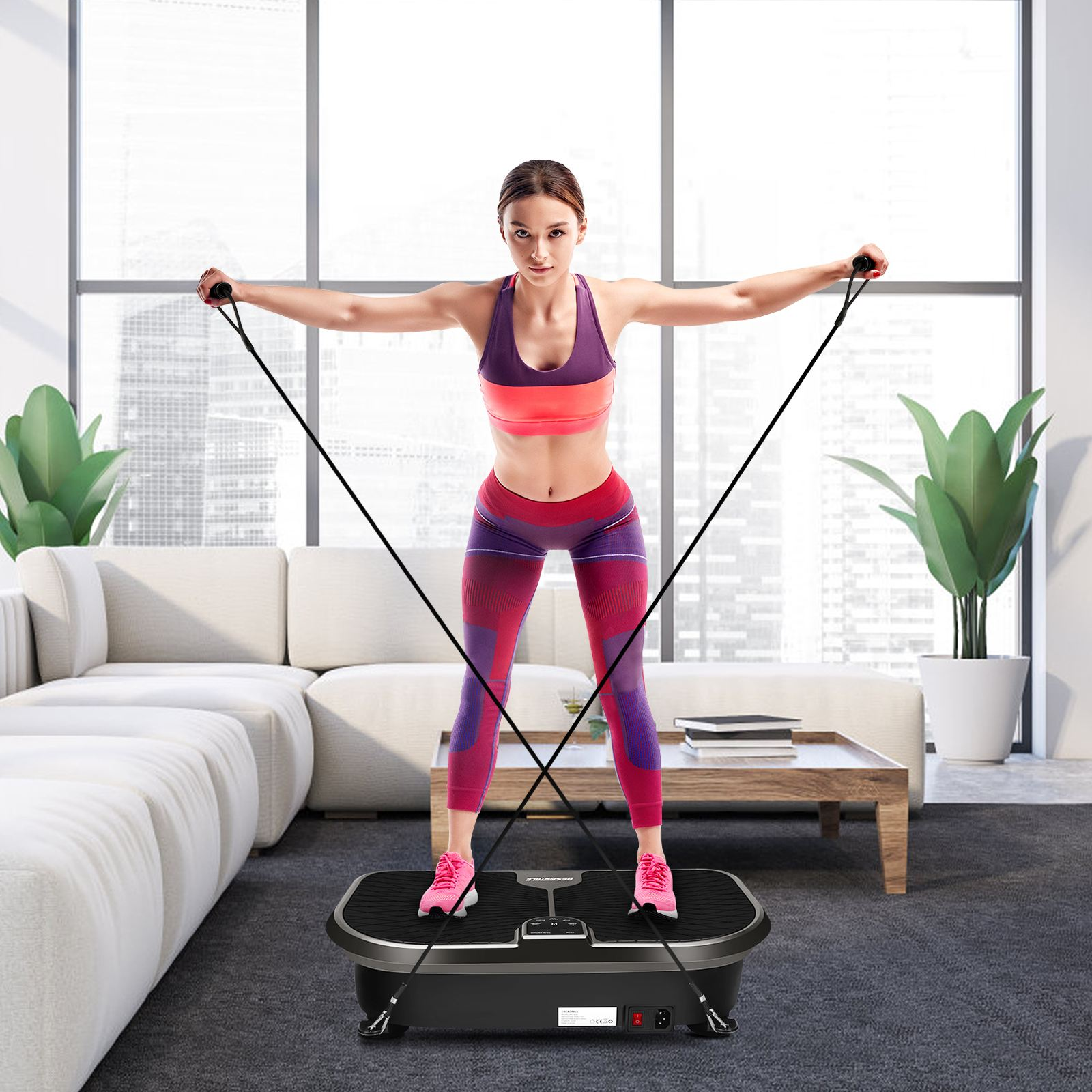 Permalink to JF-B36Vibration Plate Exercise Machine Body Workout Platform Fitness Machine Weight Loss Training Equipment With Loop Bands