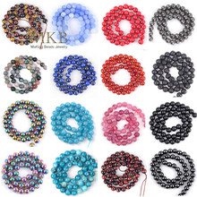 Natural Stone Agates Jades Turquoises Tiger Eye Lava Hematite Jaspers Round Beads For Jewelry Making Diy Accessories Wholesale
