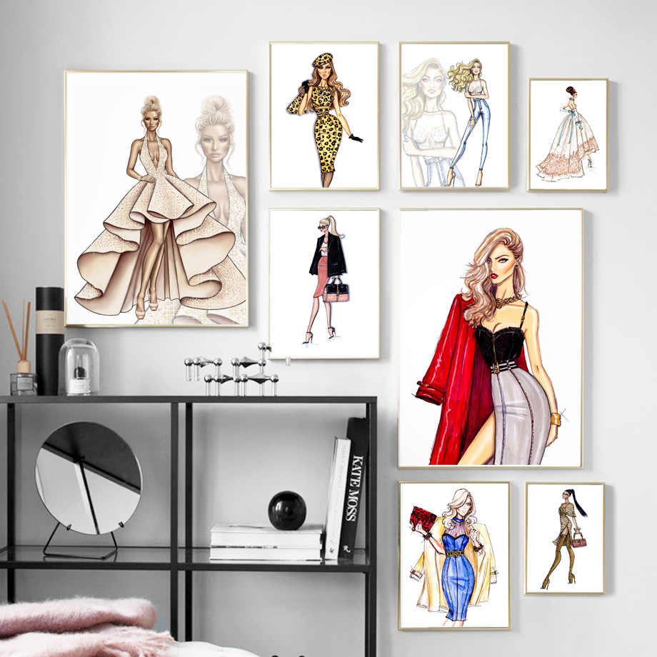 Paris Fashion Girl Custom Dress  Handbag Wall Art Canvas Painting Nordic Posters And Prints Wall Pictures For Living Room Decor