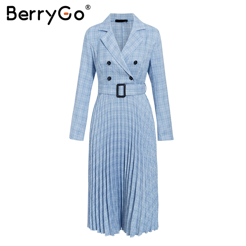 BerryGo Autumn winter women blazer dresses vestidos Pleated plaid long dress elegant Office ladies high waist belt female robe 7