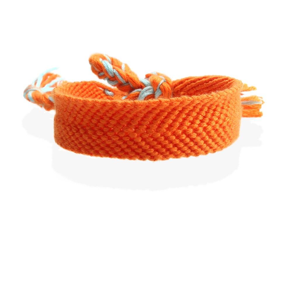 Bohemian Orange Soild Color Woven Friendship Bracelet Woman Man Femme Hippie Boho Homochromy Chevron Braided Bracelet Beach Gift