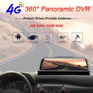 Image 2 - WHEXUNE 4G Android araba dvrı çizgi kam 4 Lens 10 inç navigasyon ADAS GPS WiFi Full HD 1080P Video kaydedici 2GB + 32GB araç kamerası
