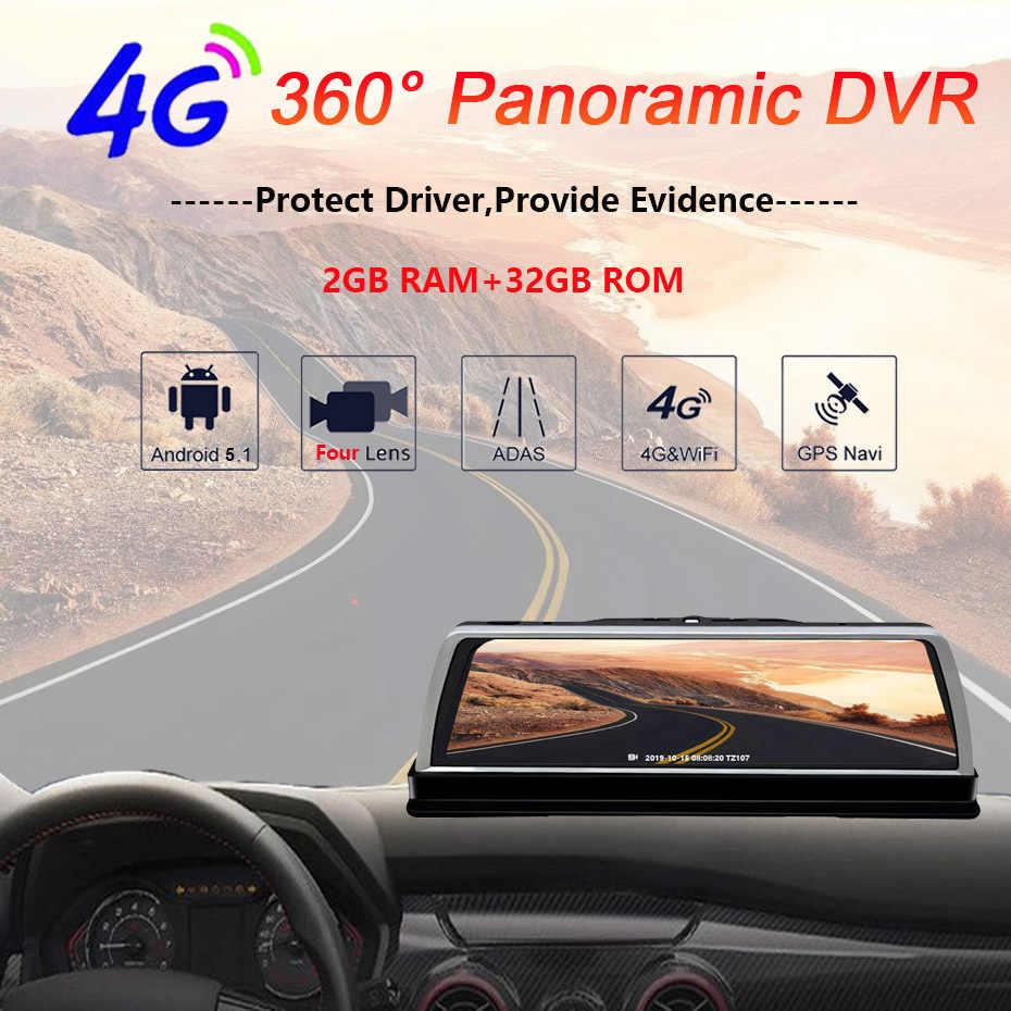 WHEXUNE 4G Android del coche DVR de la leva de La rociada 4 lente de 10 pulgadas de navegación ADAS GPS WiFi Full HD 1080P HD grabadora de vídeo 2GB + 32GB de la cámara del vehículo
