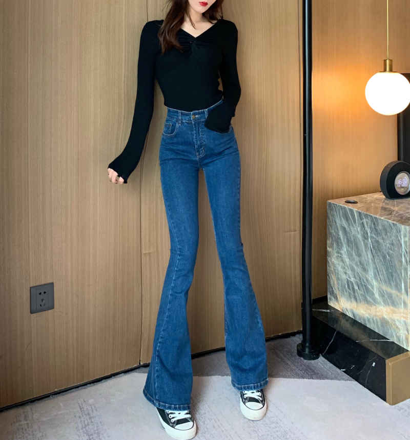 Women Fashion Casual High Waist Denim Flare Leg Jeans Sexy Bodycon Solid Jeans