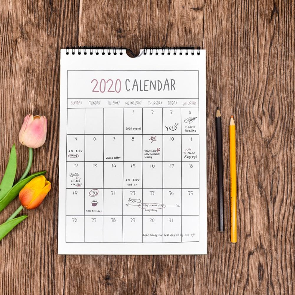 Calendar 2020 Creative Hand-Painted Wall Calendar Simple Wall Calendar Office Supplies Calendario Planner Adjustable Hole Design
