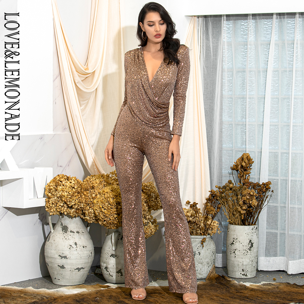 LOVE&LEMONADE Sexy Brown Deep V-neck Draped Elastic Sequins Bodycon Long Sleeve Party Jumpsuit LM82187