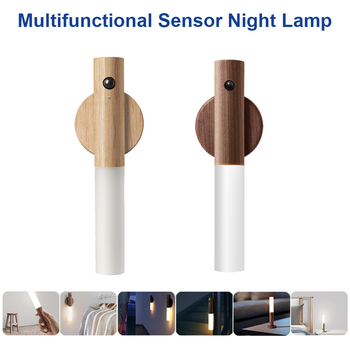 LED Infrared Smart Sensor Night Light Wireless Magnet USB Rechargeable Night lamp For Bedroom Stairs Cabinet Wardrobe Wall Lamp multifunction led night light induction human body infrared sensor flashlight rechargeable usb work lamp for bedroom camping