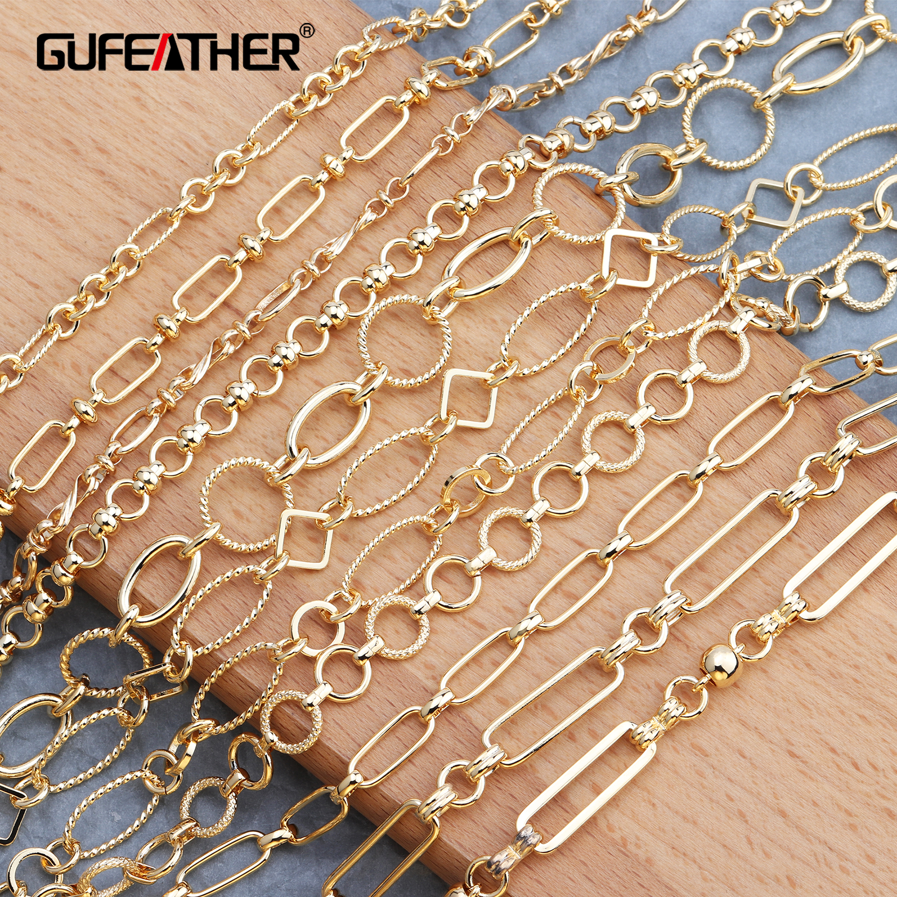 GUFEATHER  C54,jewelry Accessories,18k Gold Plated Chain,jewelry Making,hand Made,jewelry Findings,diy Earrings Necklace,1m/lot