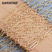 Gufeather c54, 18 k ouro, acessórios de jóias, fabricação de jóias, feito à mão, descobertas de jóias, diy brincos pingente, corrente de goldon, 1 m/lote