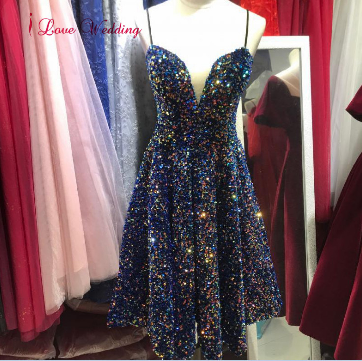 Robe Cocktail Dress Sexy V Neck Short Gown Custom Made Knee Length Navy Sequins Bling Bling Cheap Party Cocktail Gowns