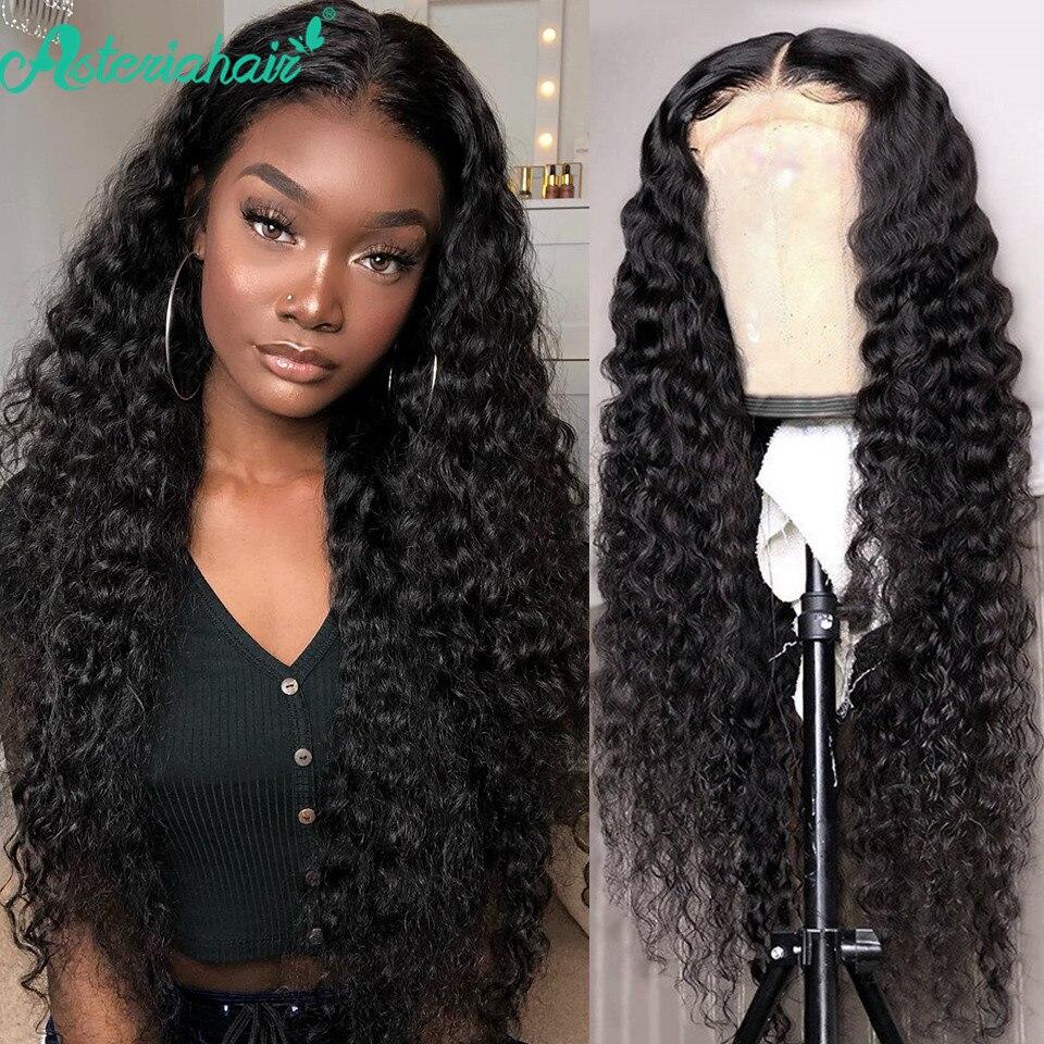 Asteria 5x5x5 HD transparente Cierre de encaje peluca brasileña profunda onda de encaje cierre pelucas de cabello humano para las mujeres Pre arrancado Peluca de pelo