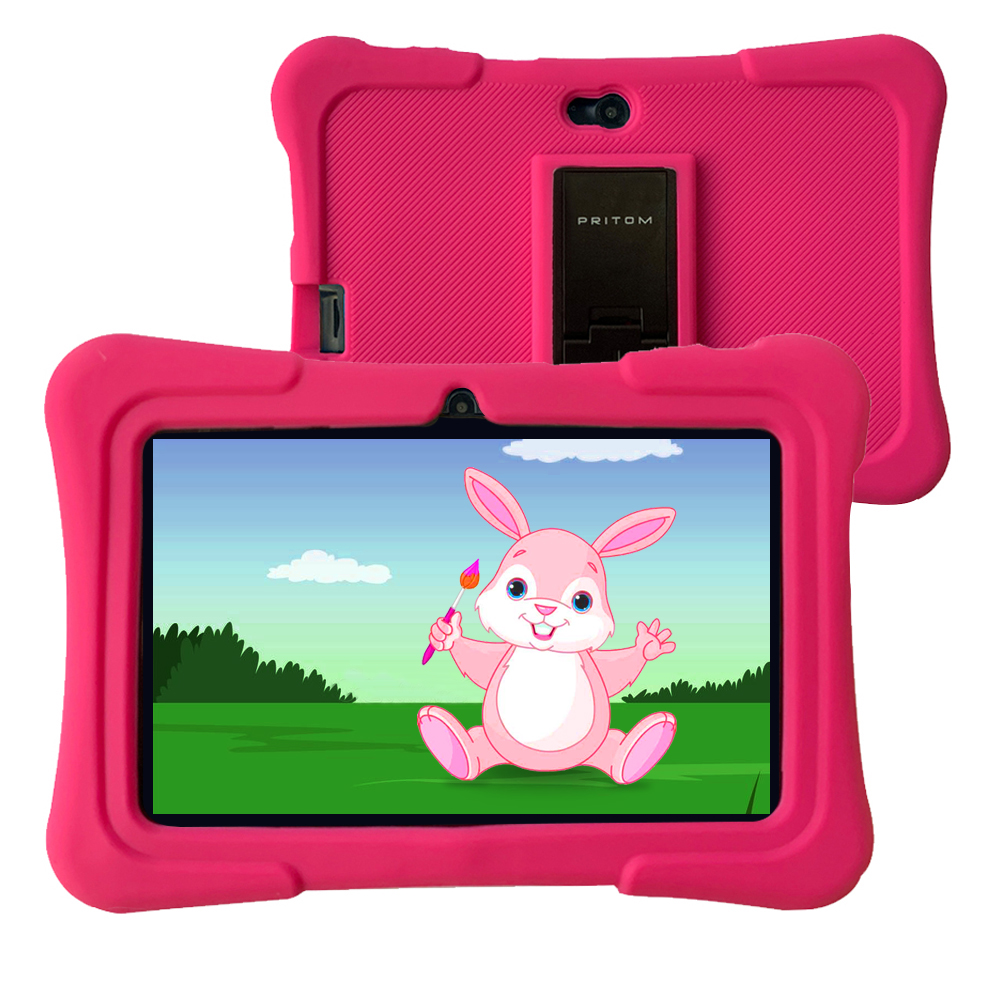 PRITOM 7 Inch Kids Tablet PC 1GB RAM 16GB ROM Android 9.0 Quad Core Tablets WiFi Bluetooth Dual Camera With Kids Tablet Case