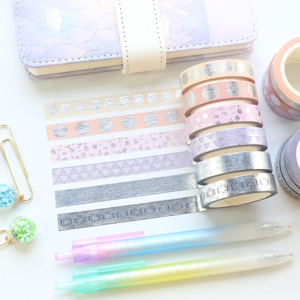 Domikee 6 Rolls Sliver Foil Bullet Journal Decoration Masking Tape Creative Scrapbooking Greeting Card Craft DIY Washi Tapes Set