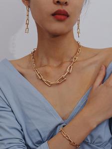 Ingesight.z Bracelet-Set Jewelry Necklaces Gold-Color Charm Collar Choker Women Minimalist