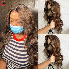 KUNGANG Highlight 13*4 Lace Wigs Wave Human Hair Wigs Brazilian Front Wigs 150% Density With Baby Hair Non-Remy