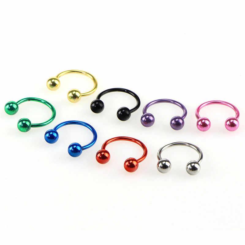 8 יח'\סט 6 8 10 mm צבעוני פלדת פרסת האף מחץ טבעות אוזן טבעות פירסינג Nariz תכשיטי Piercng