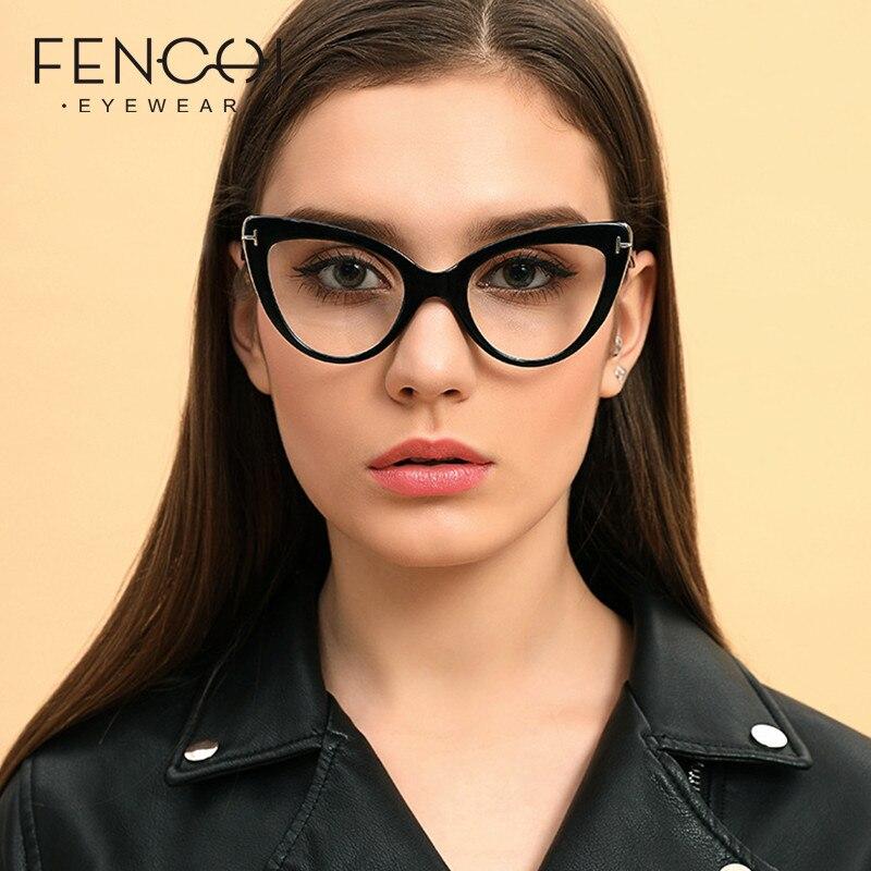 FENCHI Cat Eye Computer Glasses Transparent Eyeglasses Frame Women Men Optical Glasses Frame Blue Light Blocking Glasses