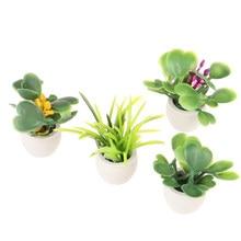 Casa de muñecas en miniatura, planta verde en maceta, decoración para muebles de hogar, accesorios