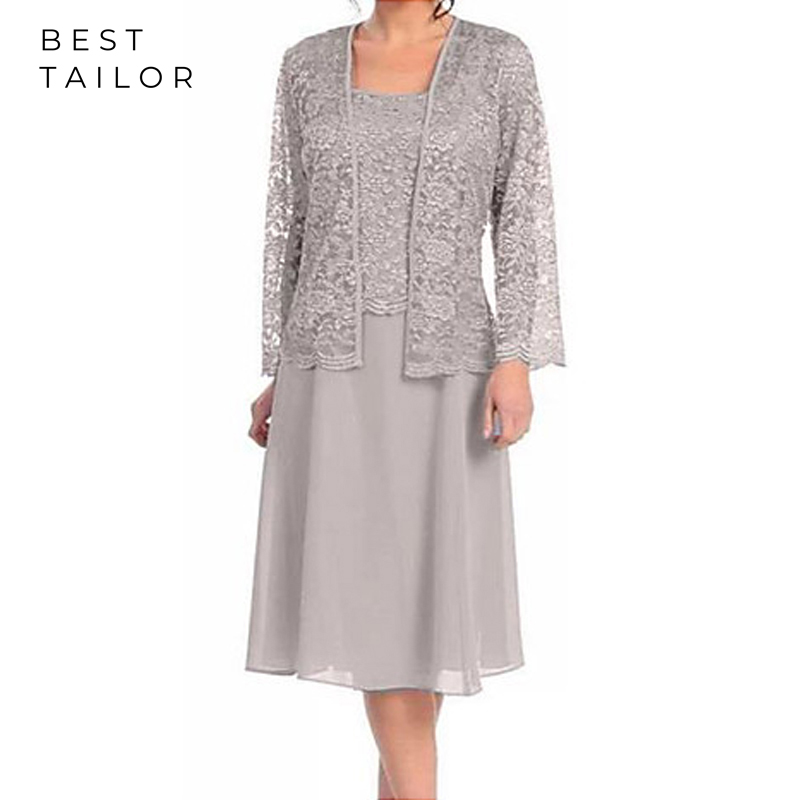 Short Mother Of The Bride Dresses For Weddings Lace Jacket Sleeves Knee Length Silver Plus Size Groom Mother Vestido De Madrinha