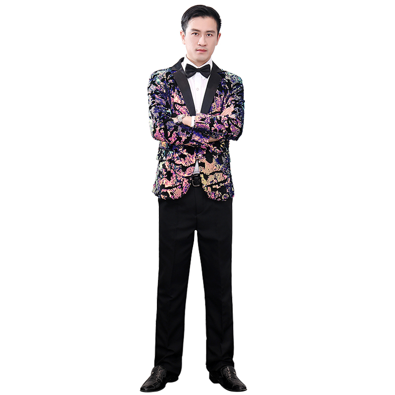 2020 Men's Multi-Color Shiny Sequined Velvet Blazer Nightclub DJ Idol Nct Stage Costume Dancing Suit