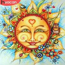 Huacan 5d pintura diamante quadrado completo/redondo sol dos desenhos animados diamante bordado venda imagens com strass hobby e artesanato