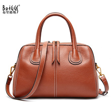 BRIGGS High Quality Genuine Leather Tote Bag Vintage Shoulder Bag for Office Lady Luxury Handbags Women Bags Designer Crossbody Bags Female sac a main цена в Москве и Питере