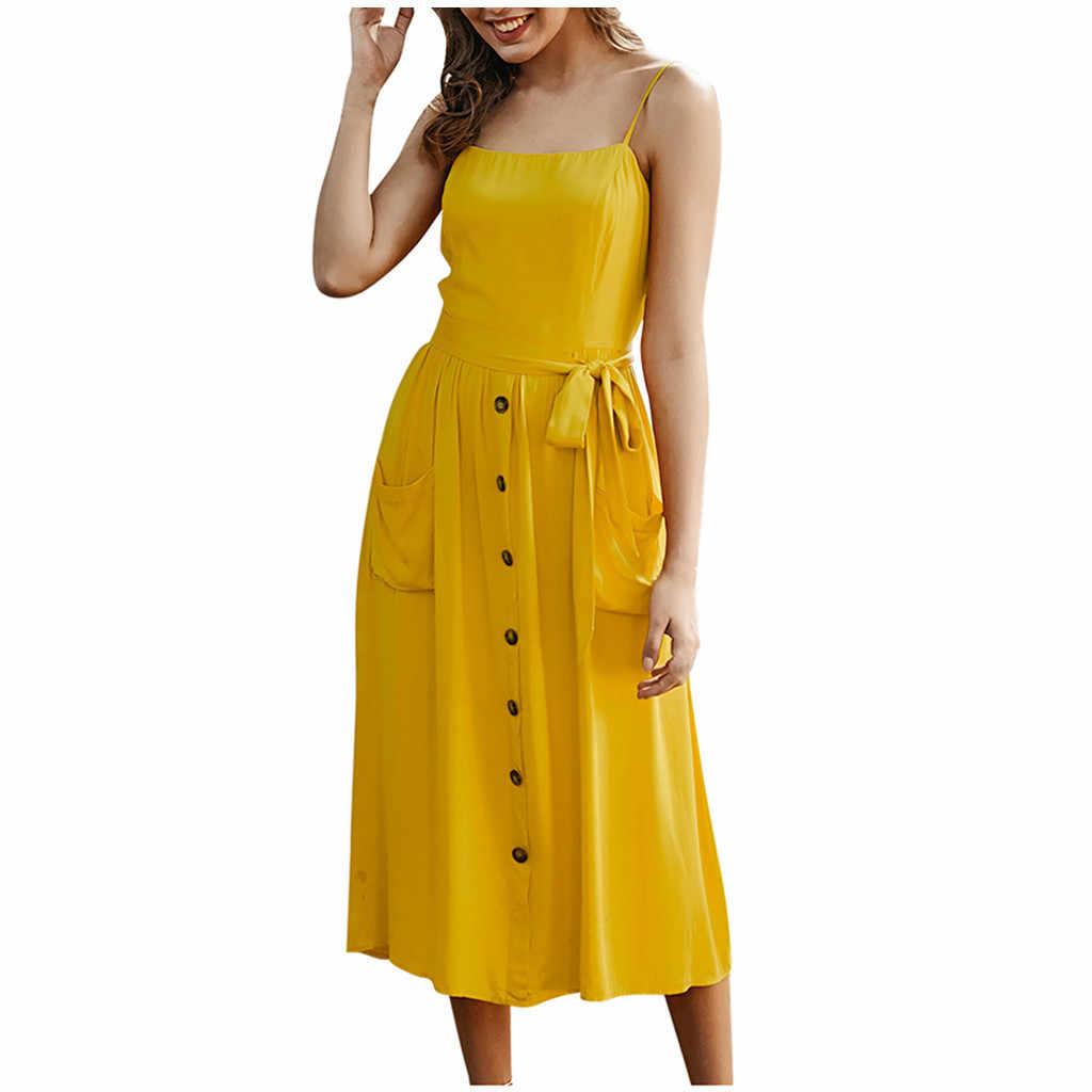 JAYCOSIN Vrouwen Mode Bandage Hemdje Backless Jurk Vrouwen Casual Button Mouwloze Jurk Voor Vrouwen Vestido Elbise Jurken D09