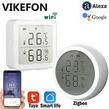 Tuya vida inteligente zigee ou wifi sensor de temperatura e umidade higrômetro interior casa inteligente termômetro detector com display lcd