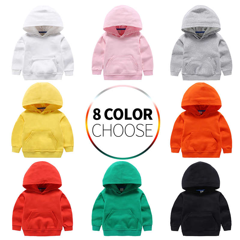 Kids Girls Boys Hoodies Outerwear White Red Yellow Black Grey Hooded Children Toddler Sweatshirt Kids Clothes Tops for 2-8 Years title=