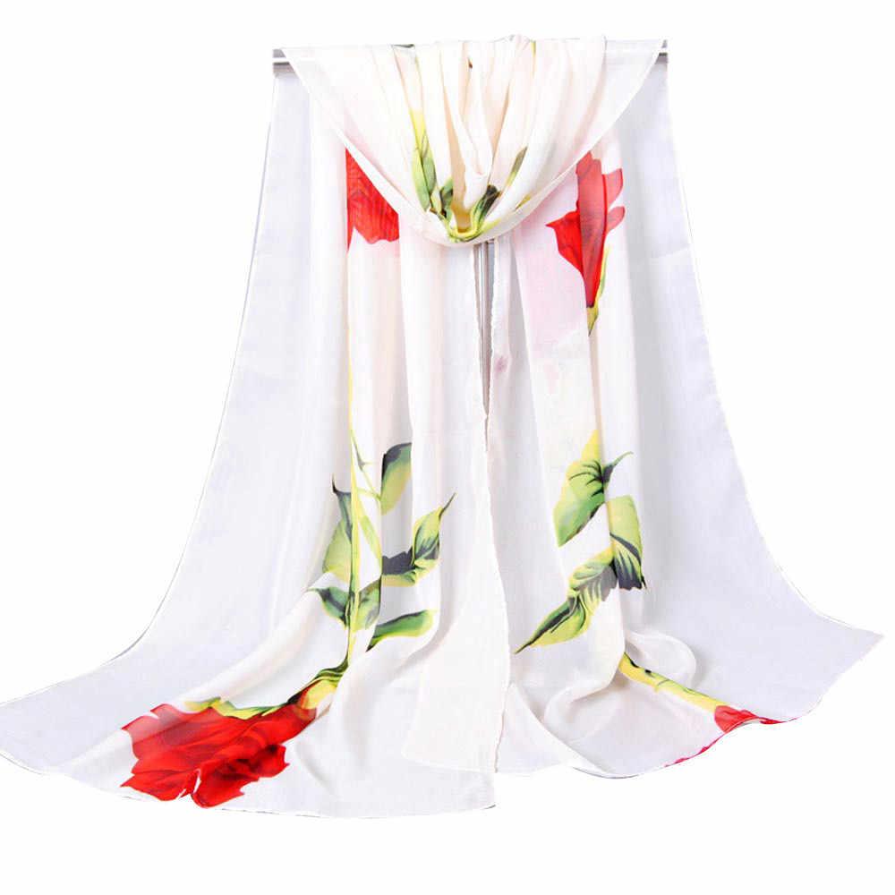 Sifon Musim Panas Wanita Syal Sutra Chiffon Tipis Selendang dan Membungkus Foulard Murni Warna Hijab Stola Dropshipping #3