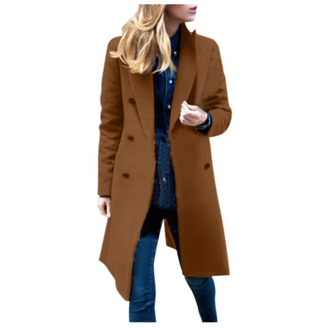 Womens Winter Lapel Wool Coat Trench Jacket Long Overcoat Outwear autumn winter Dropshipping size Leisure Work clothes Selling 5