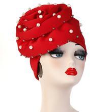 Helisopusไข่มุกลูกปัดParty Turban Hijabหมวกผู้หญิงใหญ่ยืดหยุ่นผมผ้าพันคอมุสลิมหัวWrap Elegantอุปกรณ์เสริมผม
