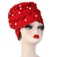 Helisopus Pearls Beaded Party Turban Hijab Cap Women Big Elastic Hair Loss Bandanas Muslim Head Wrap Elegant Hair Accessories