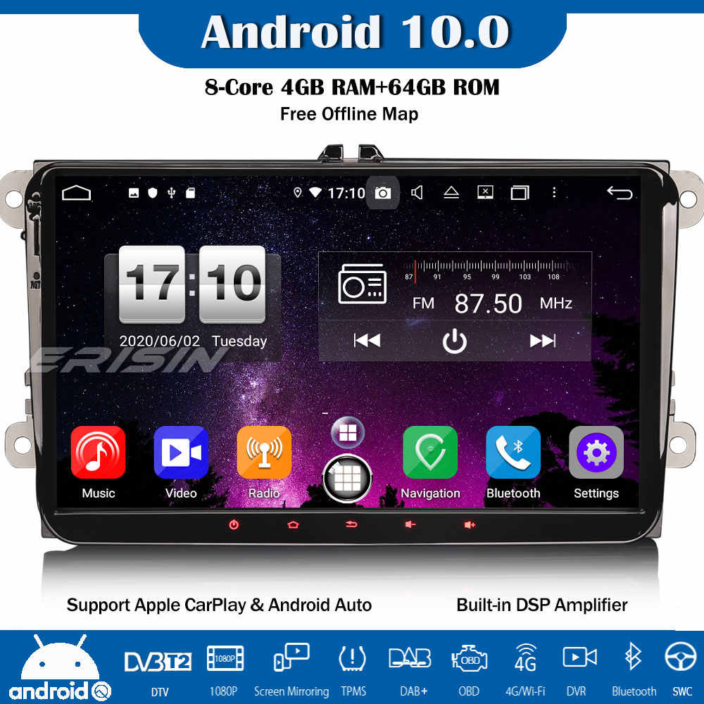 Erisin 8-Core Android 10.0 DAB + DSP Autoradio Mobil Stereo CarPlay GPS Wifi untuk VW Passat Golf 5/6 touran Eos Polo Caddy Kursi