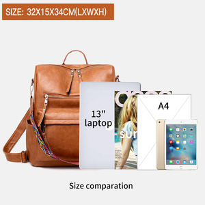 Image 5 - Multifunction Backpack Women Leather Backpacks Large Capacity Bag Vintage back pack With Ethnic Strap mochila mujer 2020 XA55H