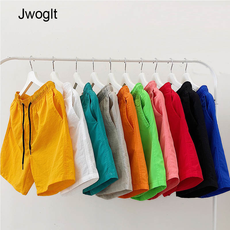 Summer Casual Men Shorts Candy-Colored Quick-Drying Couples Beach Bermuda Shorts