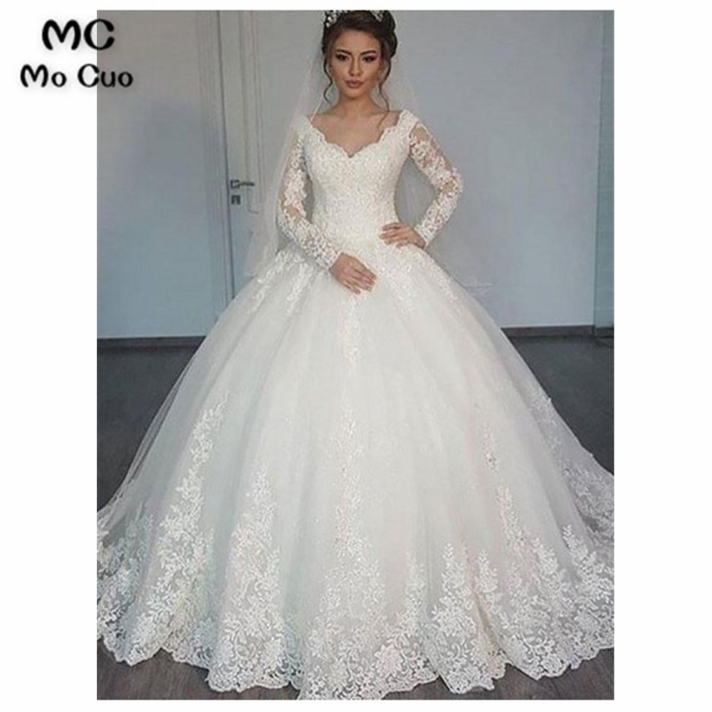 Vintage Ball Gown Wedding Dresses Corset Bodice Appliques Lace V-Neck Tulle Bridal Gown Wedding Gowns