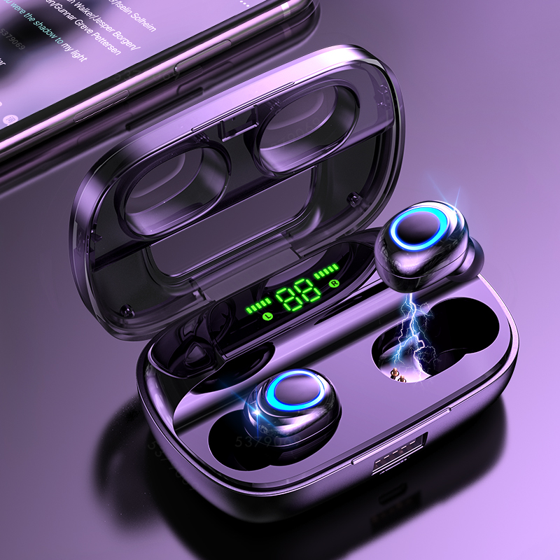Bluetooth Wireless Headphones with Microphone Sports Waterproof Bluetooth Earphones HIFI Stereo Noise Cancelling Headset Earbuds title=