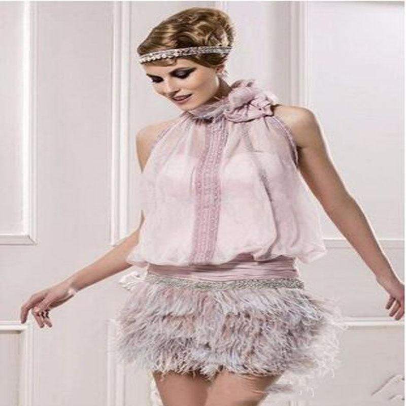 Pink Elegant Cocktail Dresses Sheath HalterChiffon Feather Beaded Elegant Short Homecoming Gown коктейльное платье