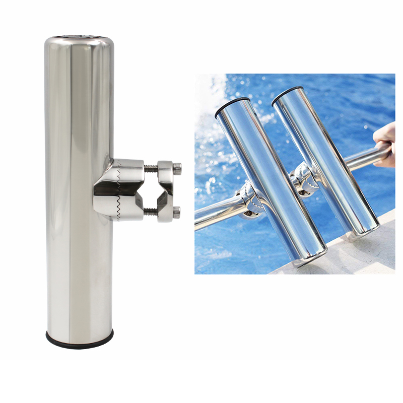 Fish Rod Holder Marine Stainless Steel Clamp On Fishing Rod Holder Adjustable Boat Fishing Tackle
