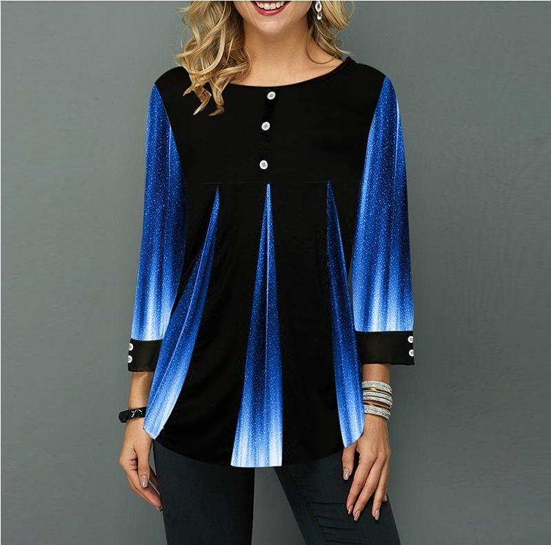 Shirt Women Spring Autumn  O-neck Blouse 3/4 Sleeve Casual Printing Button Female Fashion Shirt Tops Plus Size StreetShirt