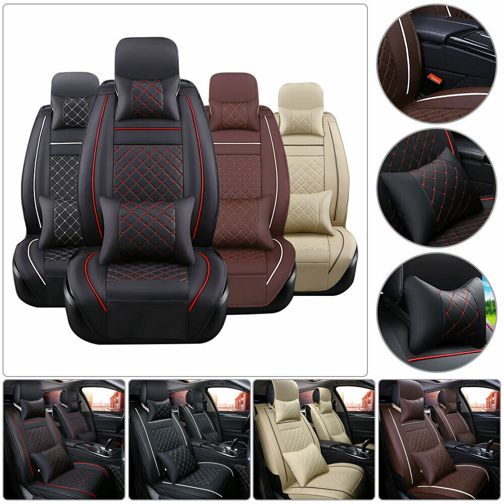 Universal Car Seat Cover Auto Protect Covers  PU Leather Full for 5-seats All Seasons Size